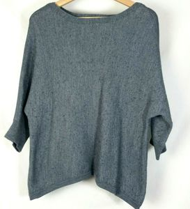 The Limited Gray Wool Sweater 3/4 Dolman Sleeve M